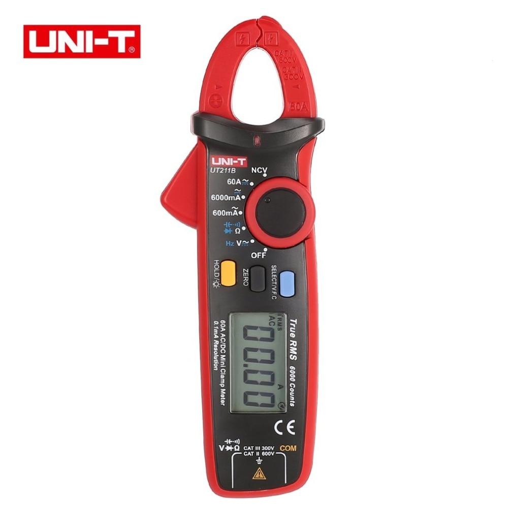 UNI-T UT211B Mini Digital Clamp Meter Multimeter True RMS High Resolution AC/DC Volt Amp Ohm Capacitance Diode Tester Wholesale uni t ut151b lcd digital multimeter ac dc volt amp ohm capacitance tester