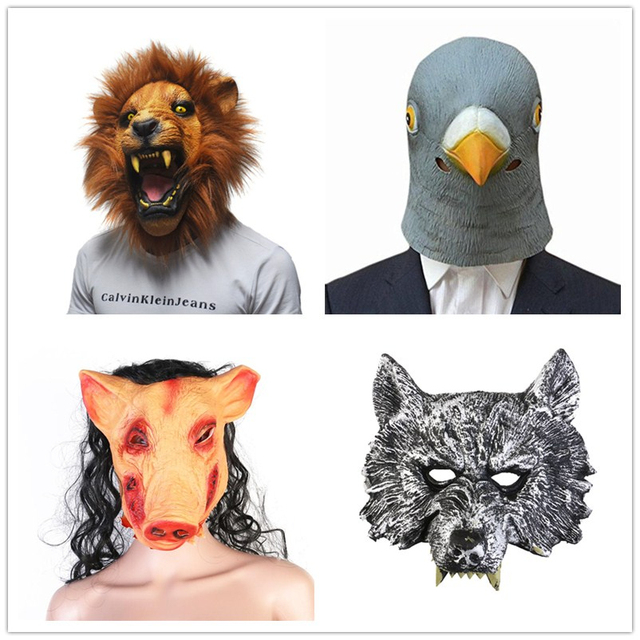 f4016ef1d6ae8 US $7.41 35% OFF|New Halloween Party Cosplay Animal Mask Latex Wolf Pig  Pigeon Lion Mask Disguises Of Rabbits Face Head Mask-in Party Masks from  Home ...