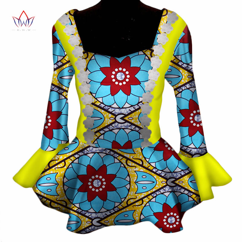 2019 african clothes for women Dashikis africa riche bazin basic work slim coat full sleeve african cotton tops 5xl none WY3293