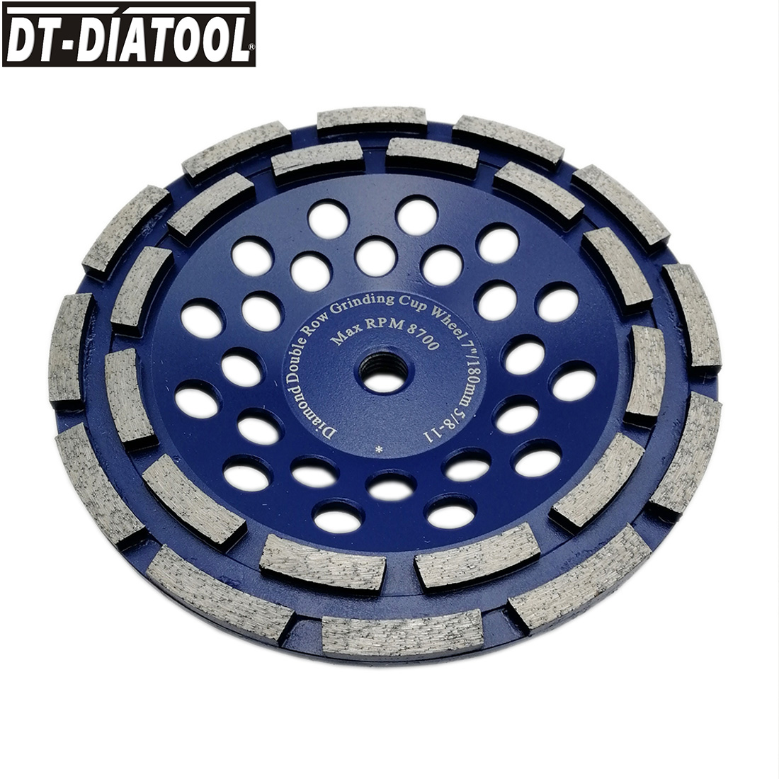 DT-DIATOOL 1pc Premium Double Row Diamond Grinding Cup Wheel 5/8-11 thread for Concrete Brick Hard Stone Granite Dia 7inch/180mm dt diatool 2pcs dia 7 double row diamond grinding cup wheel with 5 8 11 thread for concrete hard stone granite dia 7inch 180mm