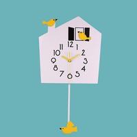Bird Pendulum Clock Wall Wood Electronic Retro Wall Clock Children Home Design Decor Living Room Clocks Wall Home Decor C5T087
