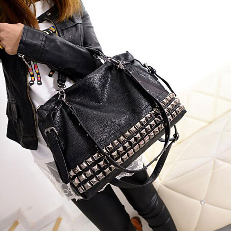 Rivet Women's PU Leather Handbag New 2017 Fashion Silver/Black Cowhide Women Messenger Bags One Shoulder Handbag Big Bags Z474