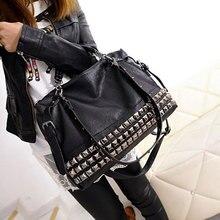 Rivet Women's PU Leather Handbag New 2019 Fashion Silver/Black Cowhide Women Messenger Bags One Shoulder Handbag Big Bags Z474