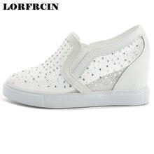 Женская летняя обувь из сетчатого материала на танкетке со стразами повседневная обувь увеличивающая рост высокий каблук криперы на скрытой танкетке Tenis Zapatos Mujer