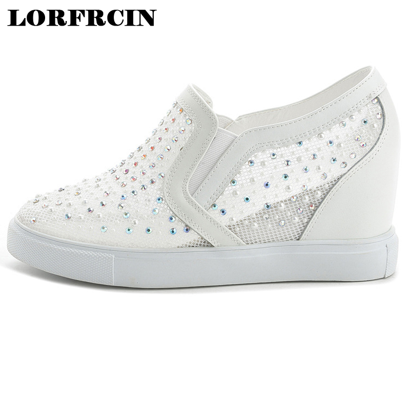 Women Summer Shoes Woman Mesh Rhinestone Wedges Casual Shoes Elevator High Heels Creepers Hidden Wedge Heels Tenis Zapatos Mujer