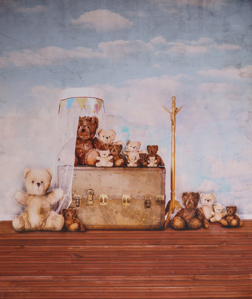 Teddy bear printed newborn baby Birthday photo backdrops  Art fabric toys backdrop for studio photography backgrounds D-9915 5x7ft art fabric photography backdrop newborn portrait printed photography backgrounds pink damask pattern wall backdrops d 7701
