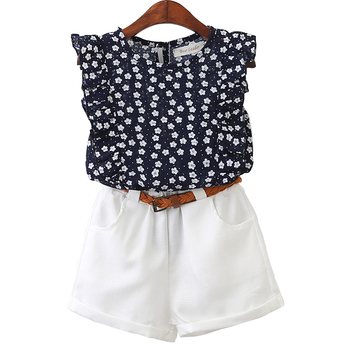 Summer Girls Clothing Sets Casual Children Clothes Flower T-shirt and Pants Girls Clothing Sets Kids Clothes For 3-7 Years Old conjuntos casuales para niñas