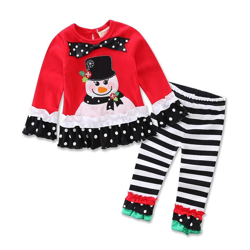 navidad nios del traje de beb girls u boys que arropa la camiseta de la historieta pantalones rayados unids nios casual d