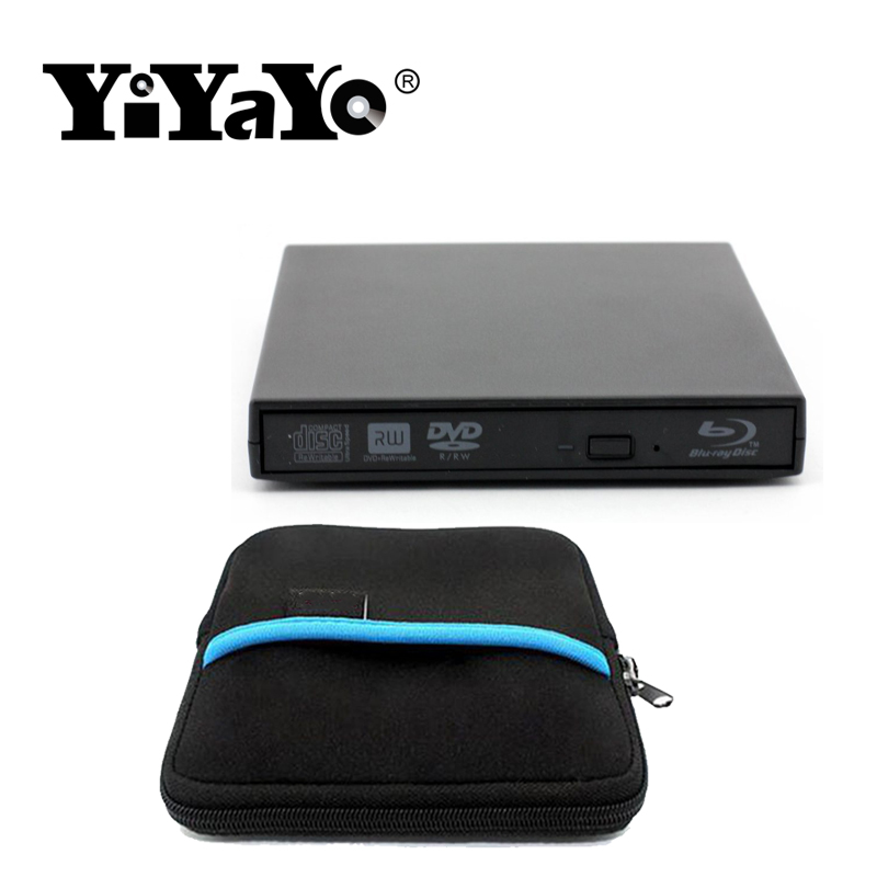 цена на YiYaYo USB 2.0 Bluray External CD/DVD ROM BD-ROM Optical Drive Combo Blu-ray Player Burner Recorder for Laptop Comput +Drive bag