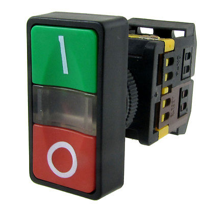 220V Light Green Red ON OFF START STOP Momentary Push Button Switch 5A 250V AC