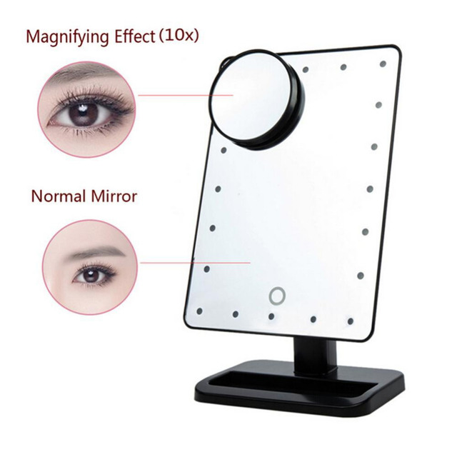 Tabletop lamp cosmetic mirror make up tool adjustable 20 leds tabletop lamp cosmetic mirror make up tool adjustable 20 leds lighted makeup mirror touch screen portable mozeypictures Gallery