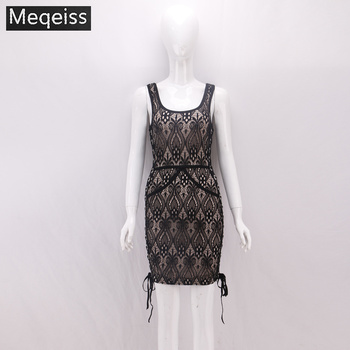 EQEISS 2018 New Arrival Stylish Lace Sexy Sleeveless O-Neck Side Lace Up Above Knee Celebrity Party Wear Bandage Dress