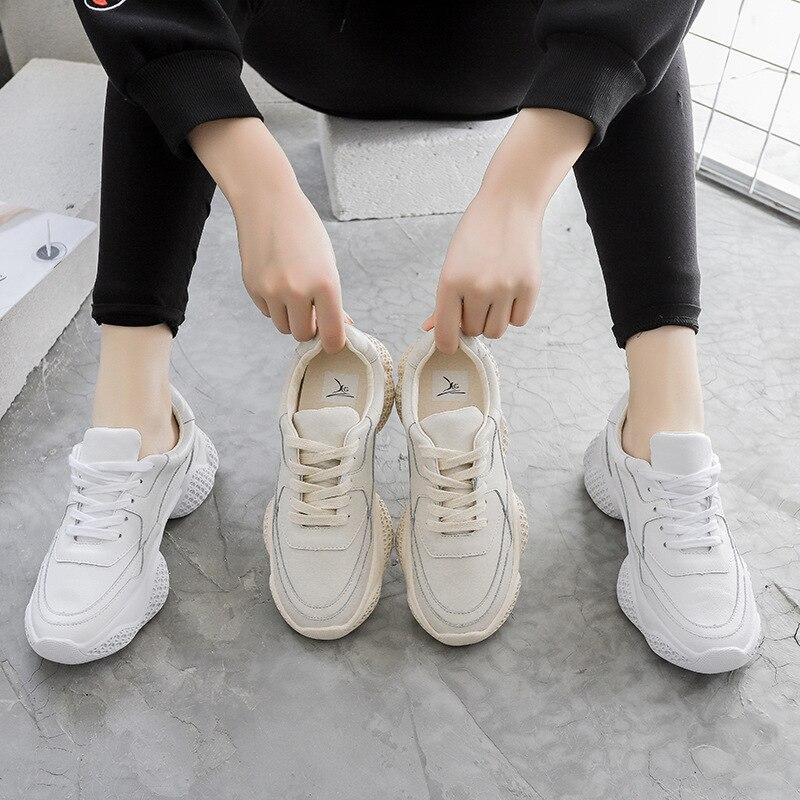 Nouveau Réel Plate Beige En Cuir 2019 Dames De Mujer Chaussures Zapatos Femmes Femme Printemps forme creamy Chunky Sneakers white Patchwork Onw80kXP