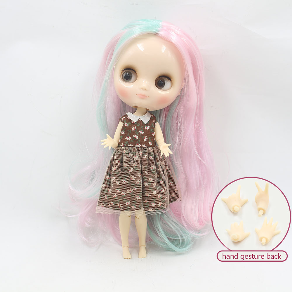 Hands Blythe Nude Doll from Factory Matte Face Jointed Body Pink Mix Grey Hair