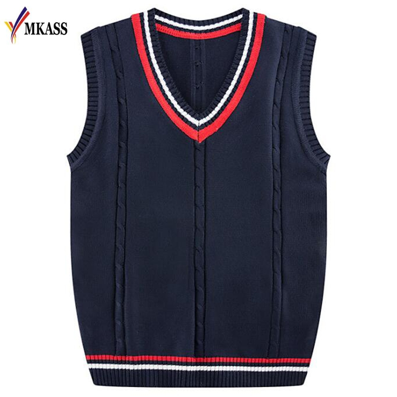 MKASS Brand Autumn Winter Mens Knitted Vest Sweater Business Casual Classic Cotton V-Neck 5 Colors Pullover Men ...