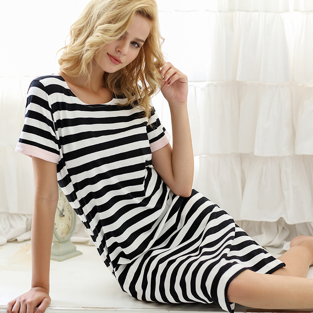 d0cf1a5c71 Women s Stripe Brief Comfortable Summer 100% Cotton Short-Sleeve Round Neck  Nightgown Sleepwear Casual