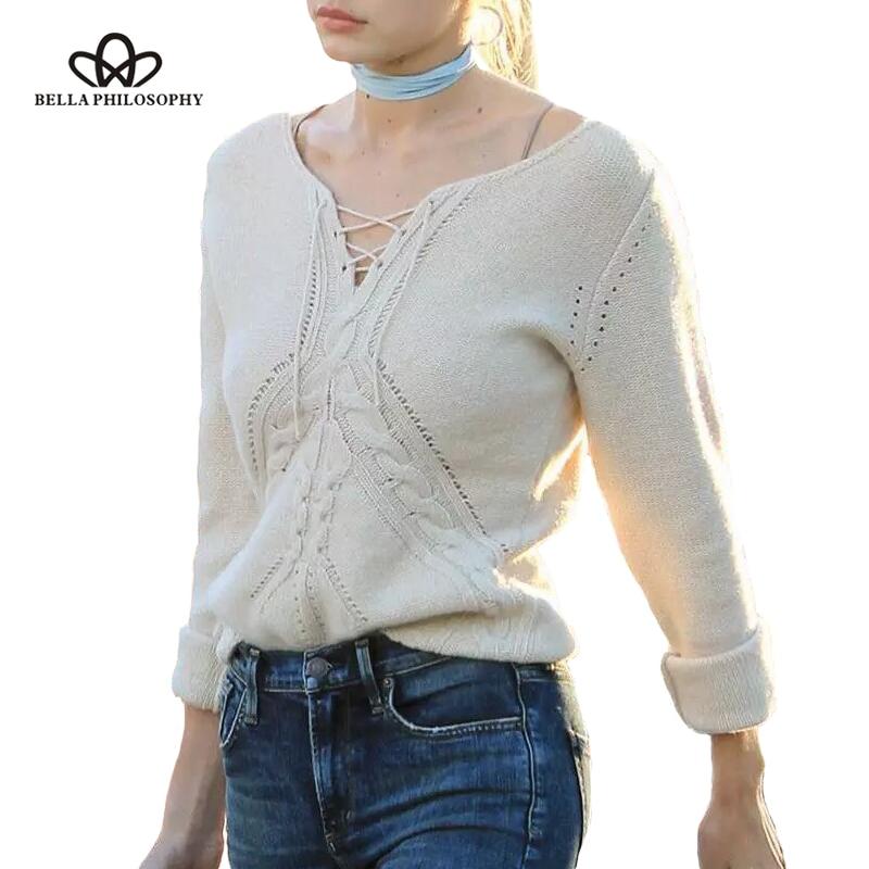 Bella Philosophy 2019 őszi tél Csipkés kötött pulóver pulóver - Női ruházat