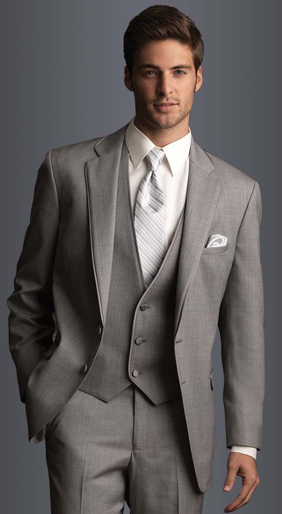 Light Gray costume homme tuxedos for men groom suit mens ...