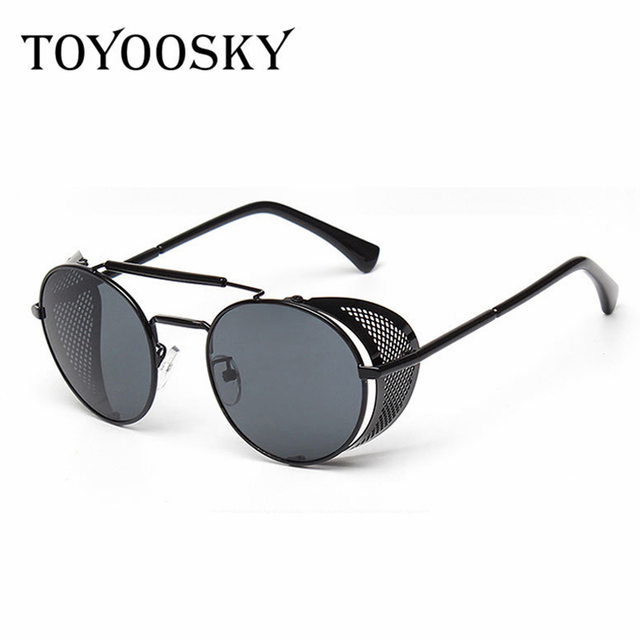 7d41d98519d45 TOYOOSKY Steampunk Sunglasses Women Round Glasses Goggles Men Side Visor  Circle Lens Unisex Vintage Retro Style Punk Oculos De