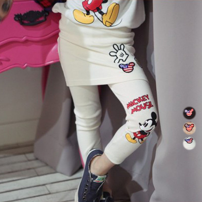 2-10Y Children Girls Spring Fall Fake Two-piece Trousers Mickey Cotton Bag Hip Skirt Pants Girls Leggings Embroidery Pants