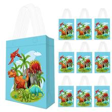 10 pcs Dinosaur Party Supplies Favor Bags Reusable Dino Gift Tote Treat for Kids Boys Theme Birthday