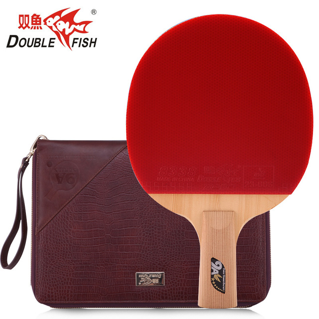 e6f96a5587b1 100% original Double Fish 9A Carbon Fiber Table Tennis Bat Ping Pong Racket  loop with quick attack pimples in with leather bag