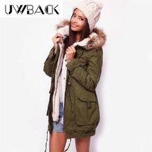 Uwback 2016 New Brand Winter Jacket Women Long Faux Fur Hooded Army Green Cotton Padded Coat Femme Windbreak Warm Jacket OB041