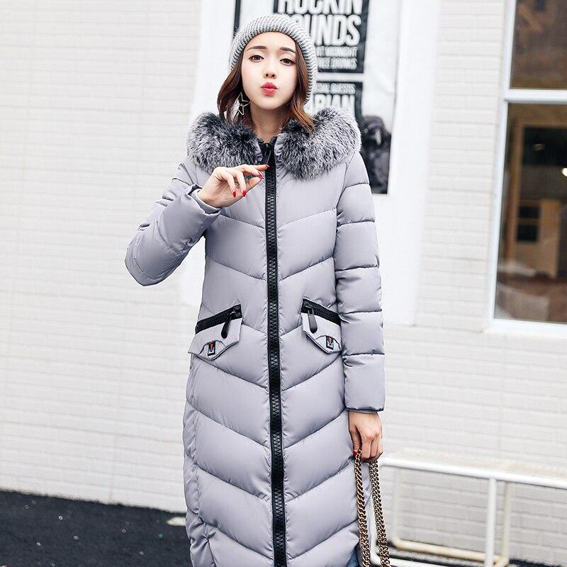 faux fur coat autumn and winter women's long cotton-padded jacket overcoat female hooded Warm Wadded Outwear overcoat jacket