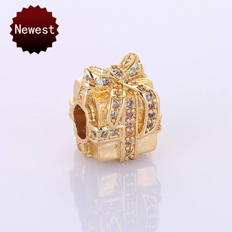 Sparkling Surprise, Clear CZ Rhinestone Gift Present Box Charms Fit Women Original Pandor Bracelet Copper Jewelry Accessories
