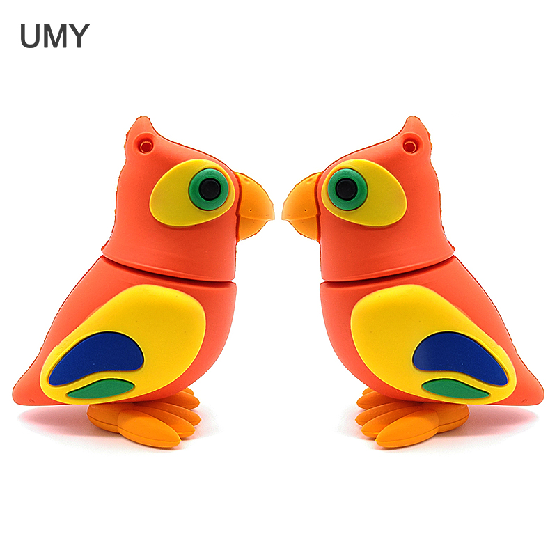 Cartoon Bird Usb Flash Drive Pendrive 64gb 32gb 16gb 8gb 4gb Cute Parrot Memory Stick Real Capacity Pendrive Gift Cle Usb Disk