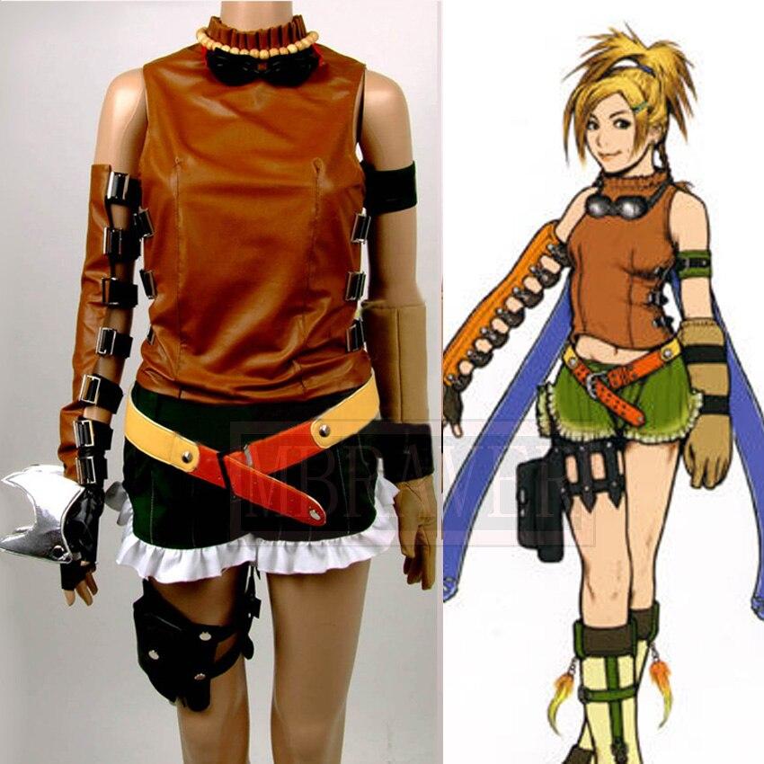 Newest High Quality Final Fantasy X 10 Rikku Uniform Cosplay Costume