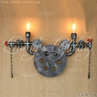 Loft Style Iron Water Pipe Lamp Edison Wall Sconce Retro Gear Wall Light Fixtures For Home Vintage Industrial Lighting