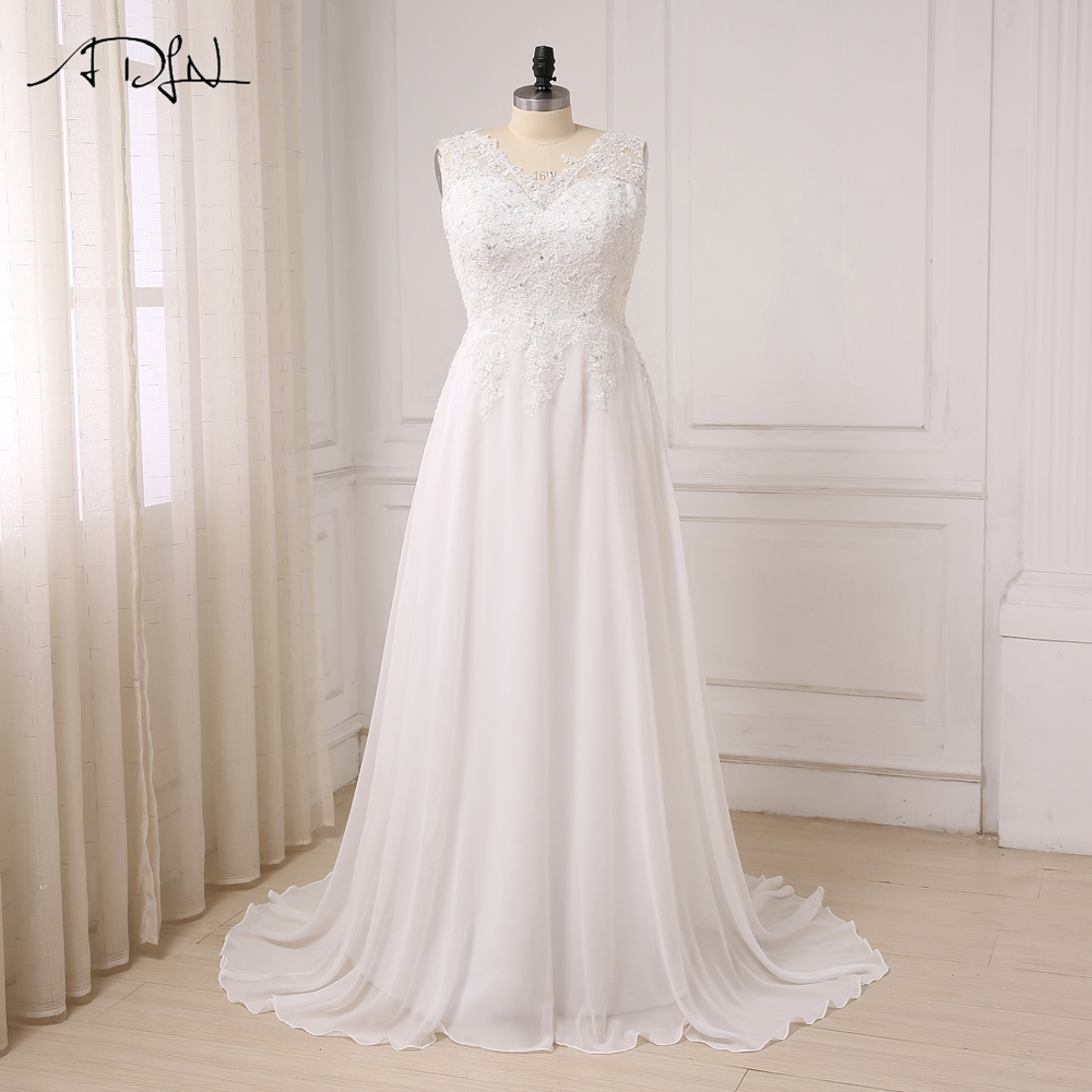 ADLN In Stock Plus Size Wedding Dress White Ivory Cap Sleeve Applique Beaded Chiffon Beach Bridal