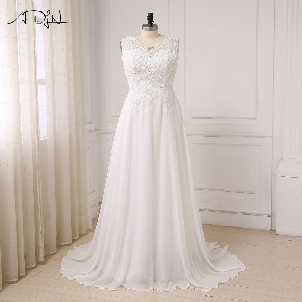 ADLN In Stock Plus Size Wedding Dress White/ Ivory Cap Sleeve Applique Beaded Chiffon Beach Bridal Gowns Vestido De Noiva