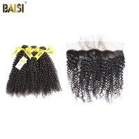 BAISI Tóc, 100% Chưa Qua Chế Biến Tóc Con Người Peru Trinh Tóc Quăn 4 Cái/lốc, 3 cái tóc dệt với một Top Ren Phía Trước