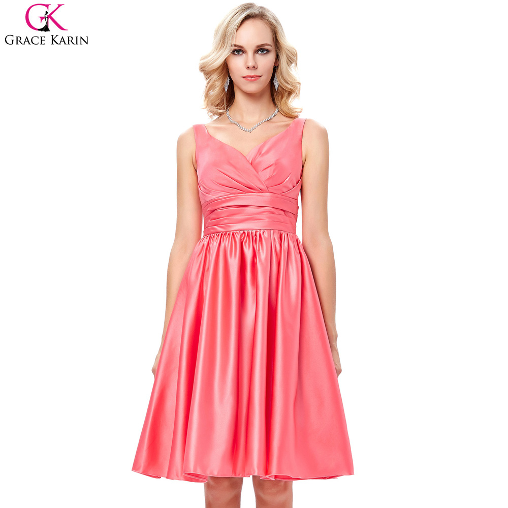 Compare prices on coral dresses for wedding online shoppingbuy grace karin coral bridesmaid dresses short sleeveless v neck satin formal ball gowns banquet elegant purple ombrellifo Gallery