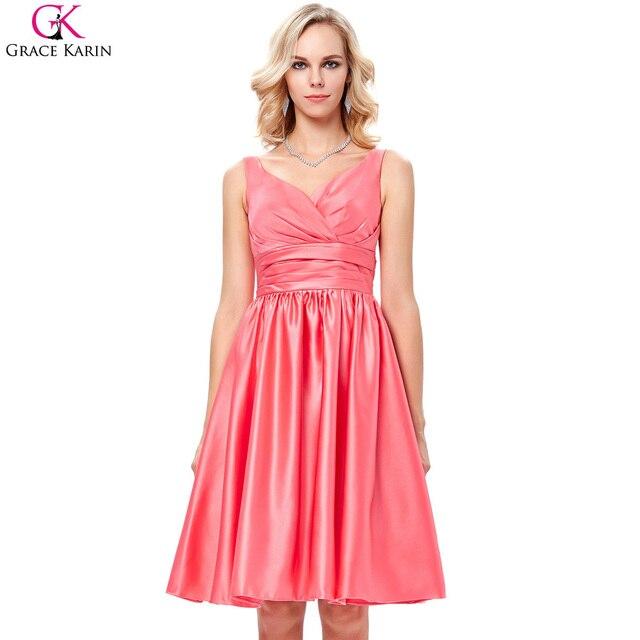 c7132b19ac2 Gracia Karin Coral Dama de Honor Vestidos Cortos Sin Mangas V Cuello de  Raso Vestidos de