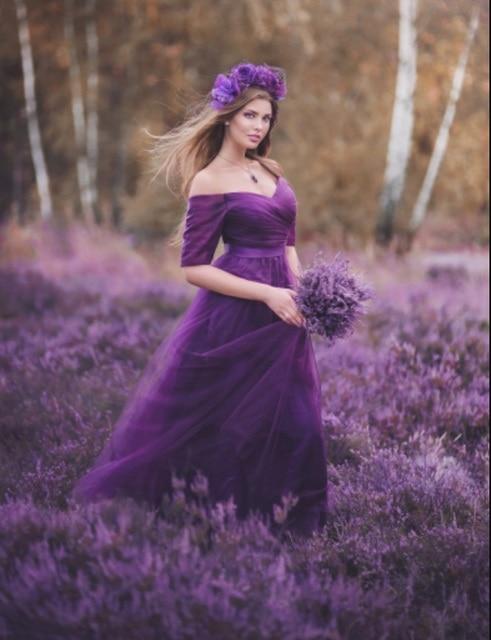 2019 מכירה לוהטת סגול אדום שושבינה שמלות סאטן טול אונליין רויאל בלו שרוולים מסיבת חתונה לנשף ילדה שמלות מפלגה שמלה