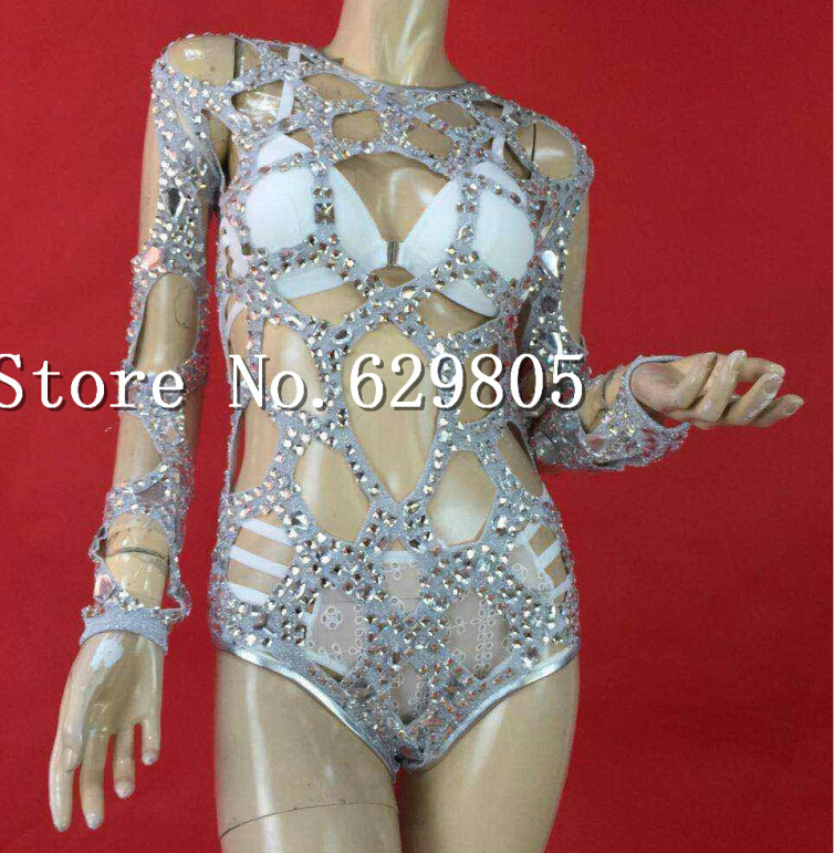 Shining Big Crystals Hollow Bodysuit Outfit Dance Wear Sparkling Rhinestone Party Costume Stage Clubwear Singer Leotard