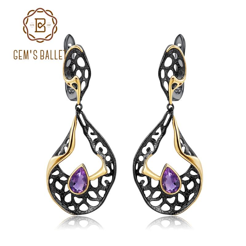 GEM S BALLET 0 76Ct Natural Amethyst Handmade Hollow Vintage Drop Earrings for Women 925 Sterling
