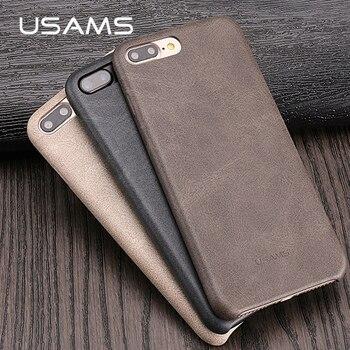USAMS Étui En Cuir Pour iPhone 7 Cas PU étui en cuir Coque pour iPhone 8 7 plus avec caméra protection conception housse de protection