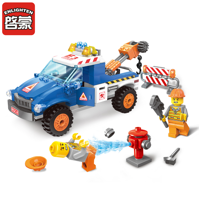 2017 NEW 1109 207Pcs City Series Road Wrecker  Compatible Enlighten Building Blocks Kids Educational Bricks minis Toys 0367 sluban 678pcs city series international airport model building blocks enlighten figure toys for children compatible legoe