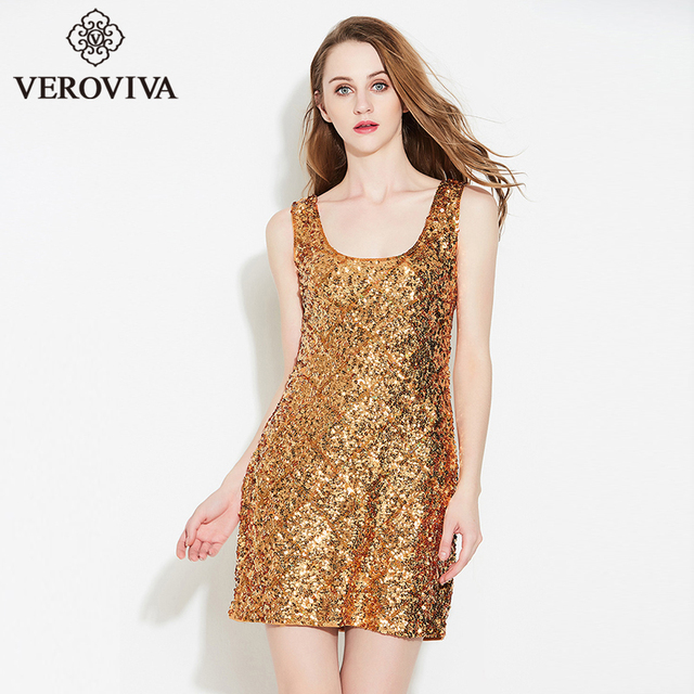 VEROVIVA Summer Autumn Sequined Dress Women Solid 5 Colors U-neck Bling  Bling Bodycon Dress Casual Sexy Pencil Dress Mini Female 4a764b273a8a