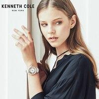Kenneth Cole оригинальные женские часы See through кожа Пряжка кварцевые бело золотые Водонепроницаемый леди роскошные часы KC10024374