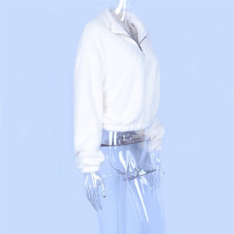 HTB1PCyhXE rK1Rjy0Fcq6zEvVXaC Hugcitar long sleeve zipper high neck Faux lambswool crop tops 2018 autumn winter women fashion solid coat jacket