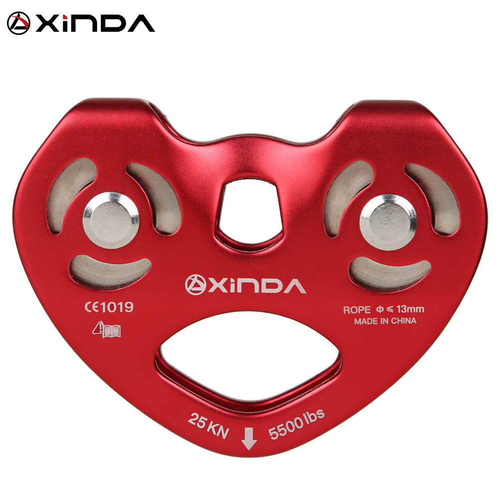 Xinda Professional Mountaineer Rock Climbing Pulley Outdoor High Altitude Traverse Carriage Magnalium Twin Wheels Pulley