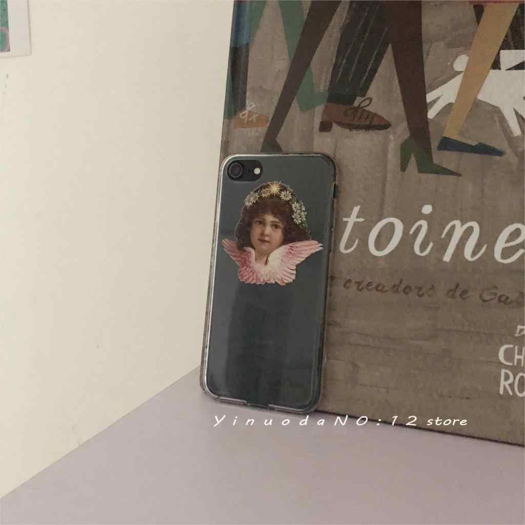 """Yinuoda transparente oco vintage pintura a óleo estilo bonito pouco anjo """"deus te abençoe"""" caso de telefone para iphone x xs 7 8 iphone 11"""
