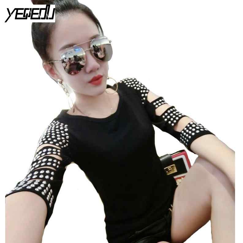 #4207 Spring/Summer T shirt Women Rivet O-neck Black/Red Off Shoulder Tops For Women Slim Fit Harajuku Punk Rock Tee shirt femme