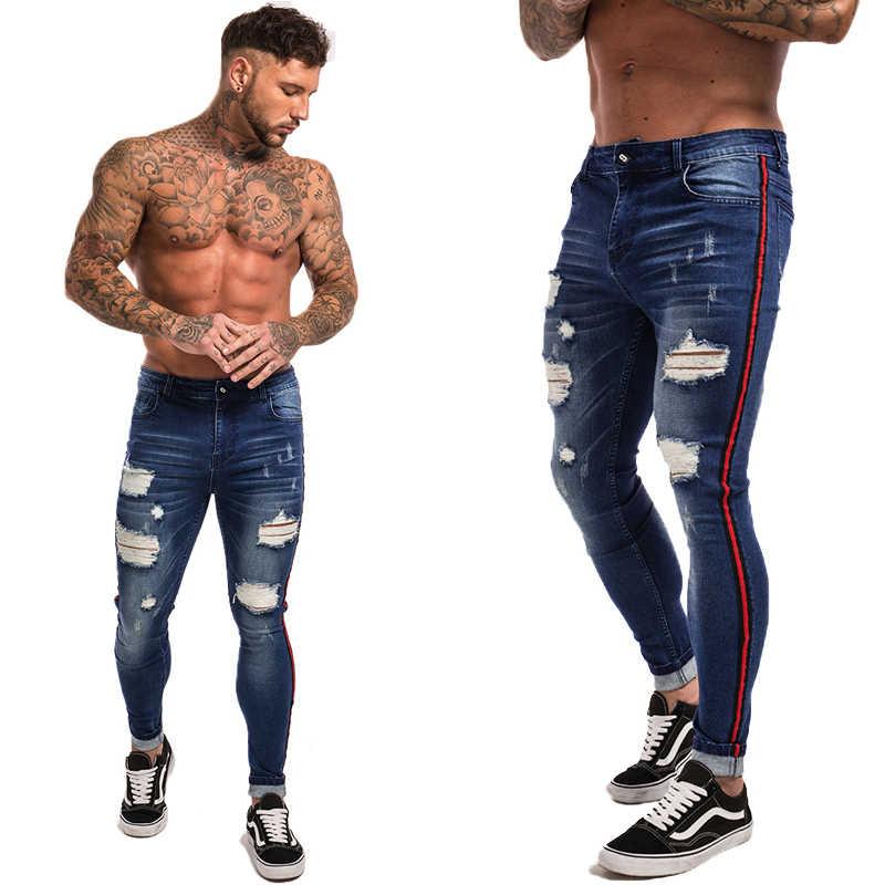 d0e22e4ebe847 ... Gingtto рваные джинсы для мужчин хип хоп Супер облегающие мужские джинсы  стрейч синие дизайнерские брендовые Модные ...