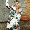 Зима 2016 новый женский персонаж печати модный бренд свободные длинные капюшоном dowm пальто